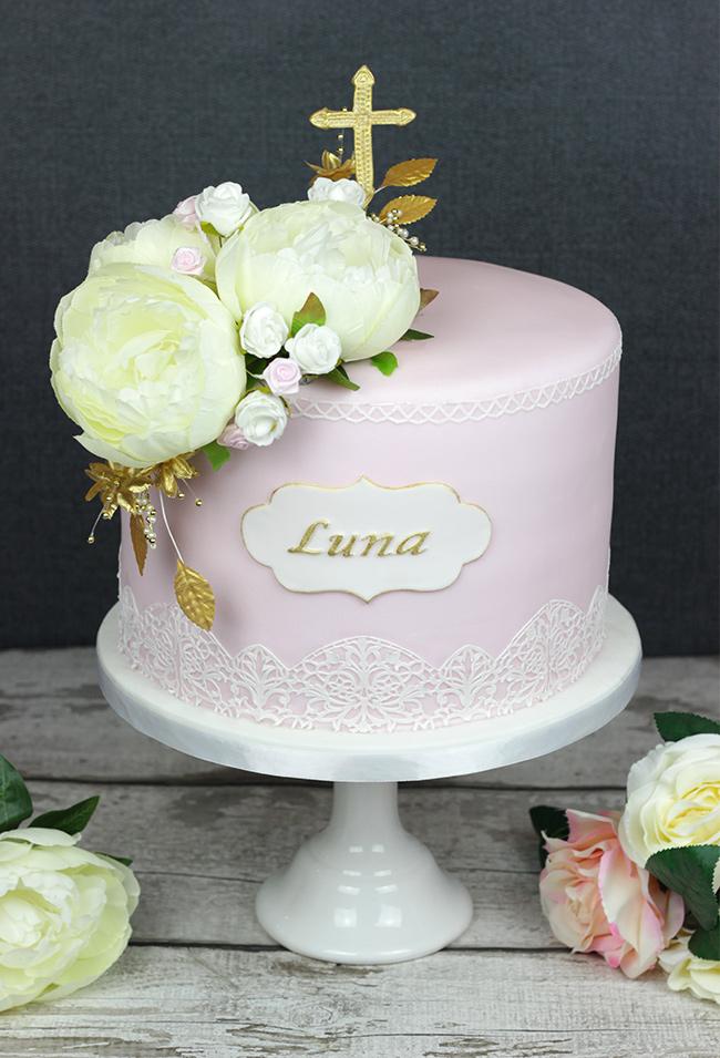 Floral Christening Cake Cakey Goodness