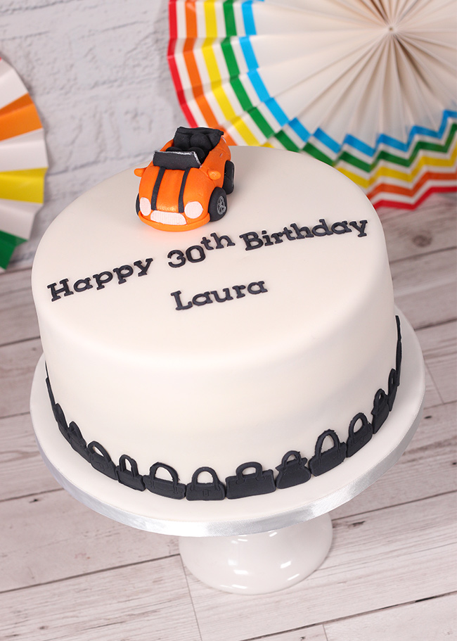 Orange-car-&-handbag-cake-2