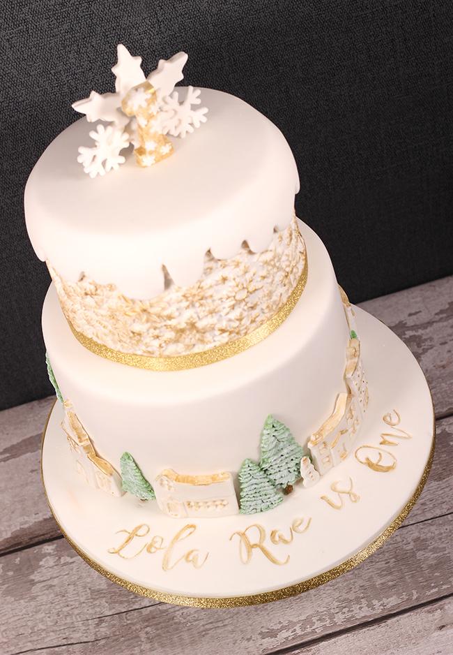 Winter Wonderland 1st Birthday Cake Cakey Goodness