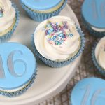 Blue 16th Birthday cupcakes