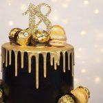 Black & gold drip cake