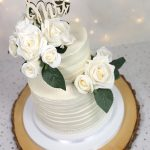 Rustic Buttercream & Roses Wedding Cake