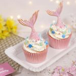 Pink mermaid tail cupcakes