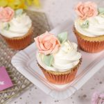 Blush pink and rose gold floral cupcakes