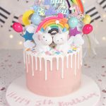 Pretty Pink & Rainbow Unicorn Cake