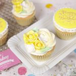 Yellow & gold birthday cupcakes